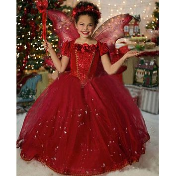 Teenage Girl Fairy Style Stage Costume Hooded Dress Little Girl Ball Gown Cosplay Party Outfits Fashion Clothing For Children