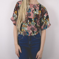 Vintage Patchwork Abstract Blouse