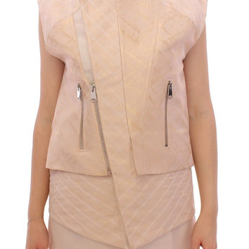 Zeyneptosum Beige brocade sleeveless jacket