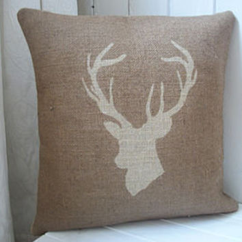 Stag's Head Hessian Cushion Cover