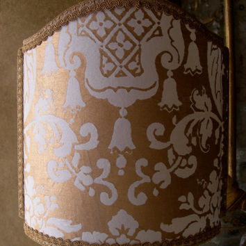 Venetian Lamp Shade Fortuny Fabric Carnavalet White & Gold Lampshade - Handmade in Italy