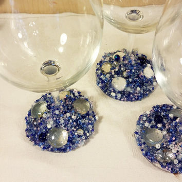 Blue Sky Wine Glasses, Beaded Wine Glasses, Decorated Wine Glasses, Decorated Glasses, Embellished Glasses, Wedding Glasses, Wine Glasses