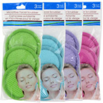 Microfiber Spa Facial Scrubbers, 3-ct. Packs