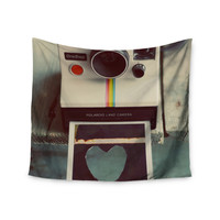 "Cristina Mitchell ""Polaroid Love"" Teal Camera Wall Tapestry"