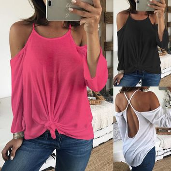 Sexy Summer Off Shoulder Long Sleeve Backless Blouse