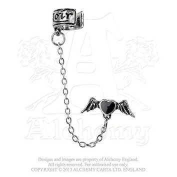 Ceur Noir Flying Heart Cuff Earring by Alchemy Gothic