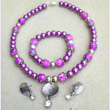 Daring Purple-Handmade Girls Jewelry-Kids Jewelry-Children Jewelry-Jewelry Set-Girls Necklace, Bracelet, &Earrings-Gifts/Her-Christmas Gifts