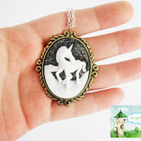 Once Upon A time Fairytale Stunning Unicorn Cameo Necklace