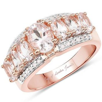 14K Rose Gold Oval Cut Morganite Anniversary Ring