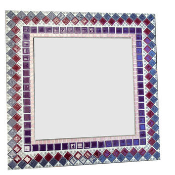 Pink and Purple Mosaic Wall Mirror / Square Decorative Mirror / Mirror for Nursery or Teen