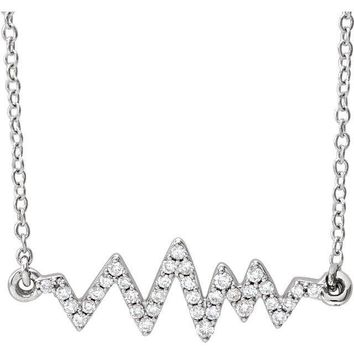 "14K White Diamond ""Heartbeat"" Diamond Necklace"