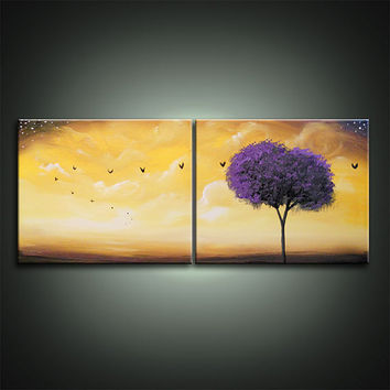 art abstract original painting canvas lollipop tree bird landscape canvas wall art home decor acrylic painting Original Painting 11 x 28