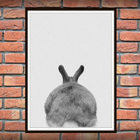 Rabbit Print, Rabbit Butt Tail, Black and White Animal Wall Art, Printable Nursery Bunny, Woodlands Decor, Cute Rabbit Instant Download *64*
