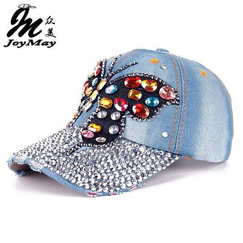 High quality JoyMay Hat Cap Fashion Leisure Cross Cap Rhinestones AB butterfly Jean Cotton CAPS Baseball Cap B217
