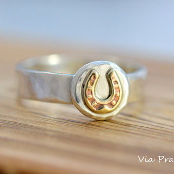 Horse shoe ring, Horse shoe jewelry, Cowboy ring, Cowgirl ring, Sterling silver ring, Prairie ring, Cattle drive - Rodeo ring, Texas ring