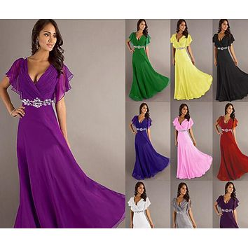 long Evening Dresses V neck with sleeve red purple royal blue elegant party maxi plus size evening dresses 2016 with crystal