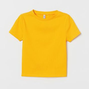 Rib-knit Top - Yellow - | H&M US