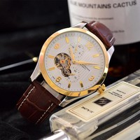 DCCK V015 Vacheron Constantin Automatic Leather Watchaband Watch Maroon Gold