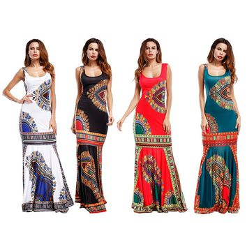 Women 's Fashion Summer Sleeveless Floral Printed Long Beach Sundress Lady Maxi Dress Fashion Party Evening Dresses