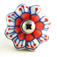 Decorative Bottle Stopper, Red and Blue Wine Stopper, Upcycled Drawer Pull Bottle Stopper