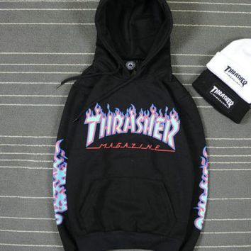 New style men's Hip-hop skateboard Fleece hoodie Flame Thrasher Sweatshirts