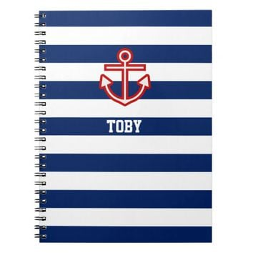 Custom Nautical Anchor Navy Blue White Stripes Notebook