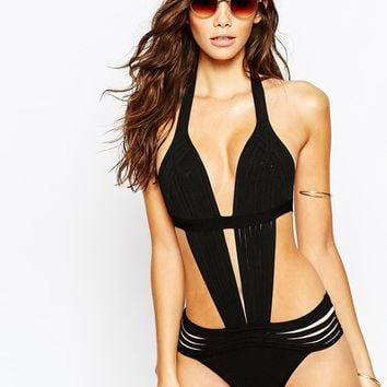 Luxe Lane Bandage Caged Strappy Swimsuit