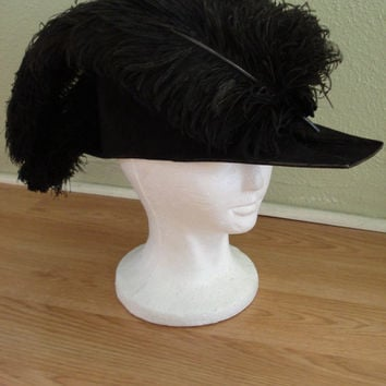 1920s Black Procession Ceremonial Masonic Knights Templar Pirate Military Chapeaux Bicorne Hat with Ostrich Plumes 201358