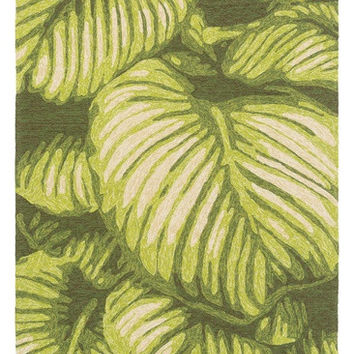 Green Leaf Tropical Outdoor Rug