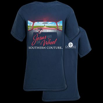 Southern Couture Jesus Take the Wheel Comfort Colors T-Shirt