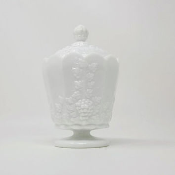 Vintage Westmoreland Paneled Grape Milk Glass Covered Pedestal Candy Dish