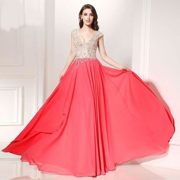Long Evening Dresses Formal Dresses V neck Chiffon Cap sleeve Floor Length robe