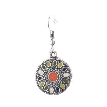 Bohemian Style Small Round Pendant Dangle Earrings Oil Drip Flower Pattern Ethnic Jewelry Ethnic Girl/Women Earrings