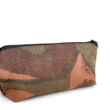 Recycled Army Canvas Pencil Case, Waxed Cotton Zipper Pouch, Army Canvas Pouch