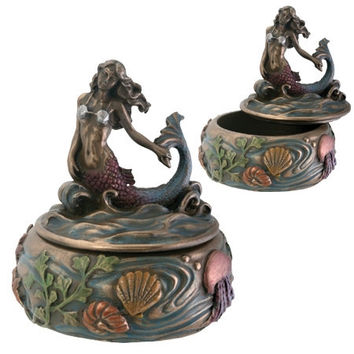 Mermaid on Waves Small Round Jewelry Box - T77630