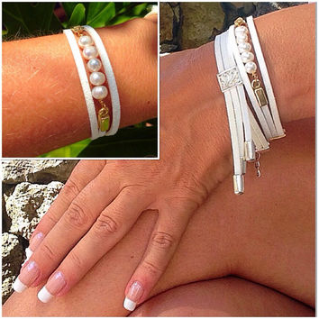 Pearls & Suede cuff bracelet, stacking bracelet, silver, gold, boho bracelet, arm candy, layering bracelet, leather, bride