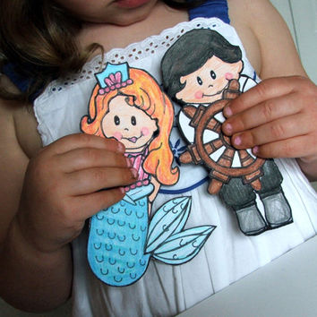 Little Miss PinkerBell Magnetic Paper Doll Set as The Little Mermaid- Doll Clothing Dress-up Set