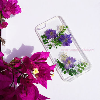 Purple Larkspur Flower,Pressed flower iPhone 7/7 Plus, Real Flower iPhone 7 case, Handmade iPhone case, Clear iPhone case,