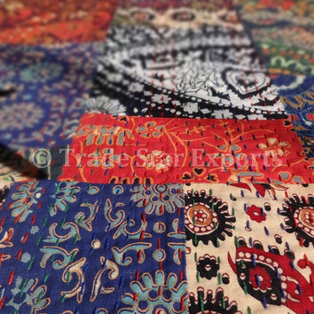 Handmade Patchwork Kantha Quilt, Printed Multi Pattern Bedspread, Queen Size Cotton Bed Cover, Handstiched in Kantha Style, Multicolor Throw