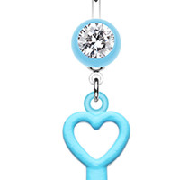 Glass-Gem Accented Heart Key Belly Button Ring