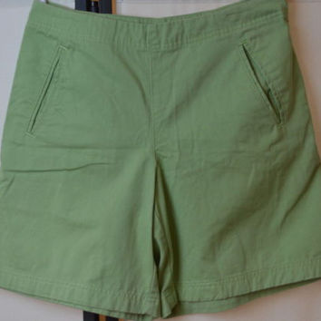"Womens IZOD Sz 6 Green Shorts 100% Cotton Small 28"" waist"