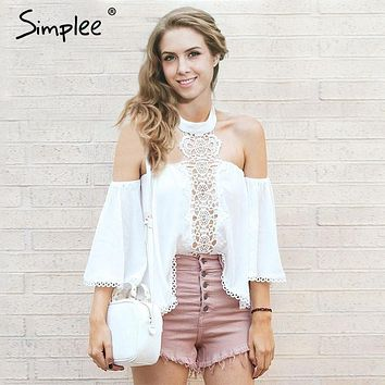 Simplee Sexy halter white lace blouse shirt women Fashion off shoulder top women blouses Summer hollow out flare sleeve top 2017