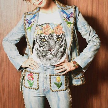 Tiger Head Women Fashion Tunic Shirt Top Blouse