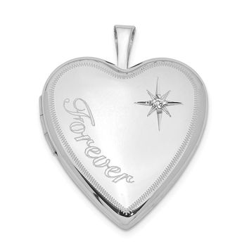 925 Sterling Silver Rhodium-Plated 20mm Forever with Diamond Star Heart Locket