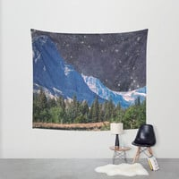 Surreal Mountains Wall Tapestry, Unusual Gift, Large Scenic Wall Art, Nebula Decor, Scifi Tapestry, Large Tapestry, Mountains at Night