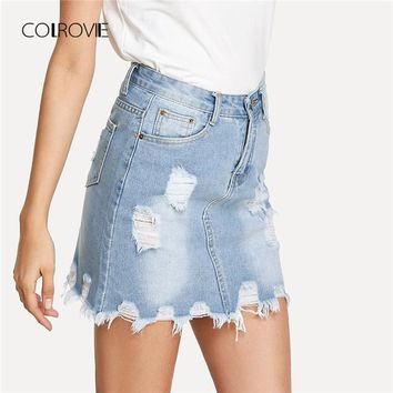 COLROVIE Bleach Wash Ripped Mini Denim Skirt Summer New Sheath Women Skirt Basic Pocket Jeans Skirt High Waist Casual Skirt