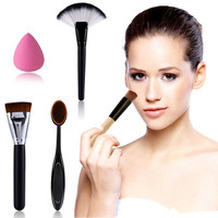2 x Makeup Brush+Powder Blush Foundation Brush+Sponge Puff + Contour Brushes Pinceaux Maquillage Makup Brush Tool Set Free ship