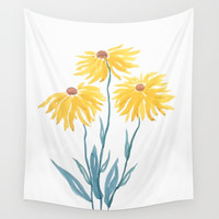 three yellow flowers Wall Tapestry by colorandcolor