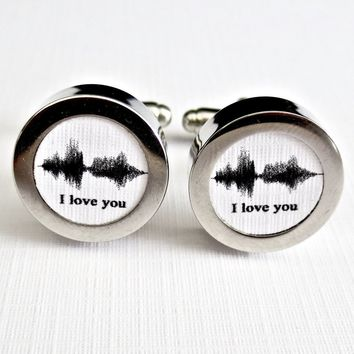 Sound Wave Cufflinks Cotton 2nd Anniversary Gift