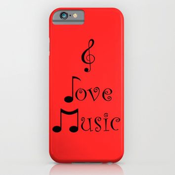I Love Music - Retro Red iPhone & iPod Case by Moonshine Paradise